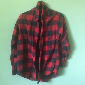 Lands'End red and black flannel size m
